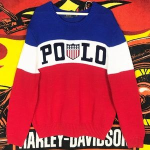 Polo Ralph Lauren Spell Out Badge Knit Sweater USA